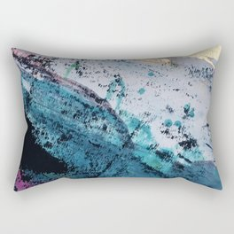 Twilight [2]: a beautiful, abstract watercolor + mixed-media piece in blue, gold, purple, + pink Rectangular Pillow