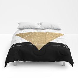 Golden marble deco geometric Comforters