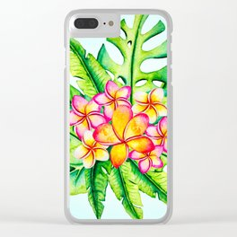 Bright Tropical Flower Bouquet Clear iPhone Case