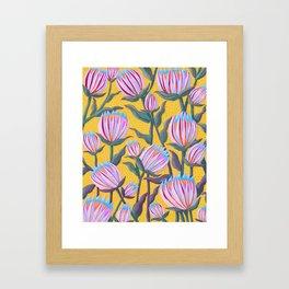 Bold Protea Flower Pattern - Pink Blue Green Purple Yellow Framed Art Print