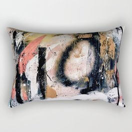 Lightning Soul: a vibrant colorful abstract acrylic, ink, and spray paint in gold, black, pink Rectangular Pillow