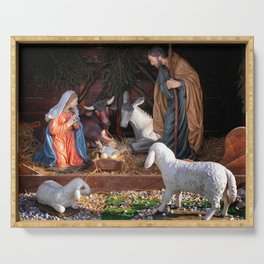 Christmas and Christianity. Nativity scene. Serving Tray