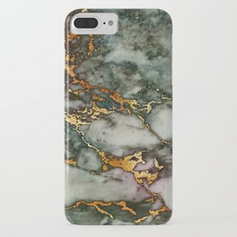 Gray Green Marble Glitter Gold Metallic Foil Style iPhone Case