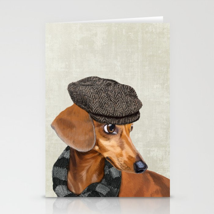 Elegant Mr. Dachshund Stationery Cards