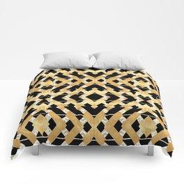 Gold Foil and Black Art Deco Chevron Comforters