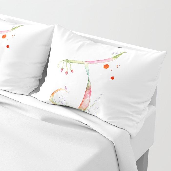 Letter J watercolor - Watercolor Monogram - Watercolor typography - Floral lettering Pillow Sham