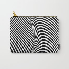 Black and White Pop Art Optical Illusion Lines Carry-All Pouch