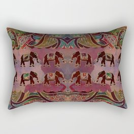 Floral Elephants #2 Rectangular Pillow