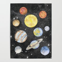 Watercolor Planets Poster