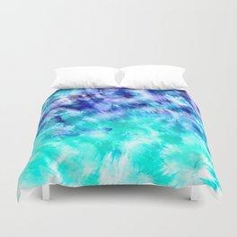 modern boho blue turquoise watercolor mermaid tie dye pattern Duvet Cover