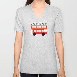 London Double Decker Red Bus Unisex V-Neck