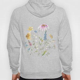 wild flowers and blue bird _ink and watercolor 1 Hoody