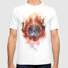Set Fire To The Rain MEDIUM White Mens Fitted Tee