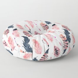 Pink Black Flamingo Boho Chic Feathers Floor Pillow