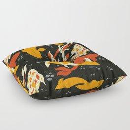 Koi in Black Water Floor Pillow
