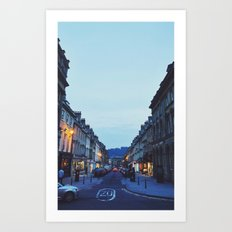 street at sundown  Art Print