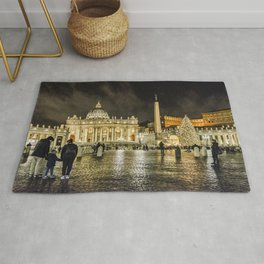 Saint Peters Basilica Winter Night Scene, Rome, Italy Rug