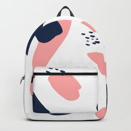 Modern abstract navy blue pastel pink geometric paint strokes with hand painted dots Backpack