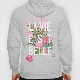 LAVIE EST BELLE - Watercolor - Pink Flowers Roses - Rose Flower Hoody