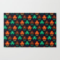 Multy retro flowers black Canvas Print