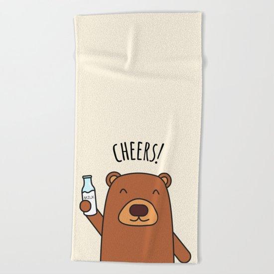 Cheers, Bear! Beach Towel