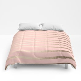 Abstract Drawn Stripes Gold Coral Light Pink Comforters