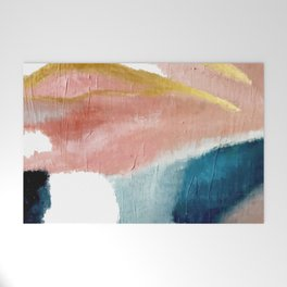 Exhale: a pretty, minimal, acrylic piece in pinks, blues, and gold Welcome Mat