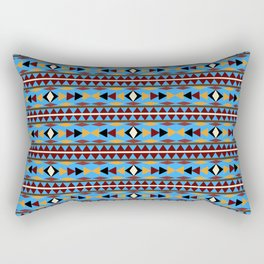Navajo Blue Pattern Art Rectangular Pillow