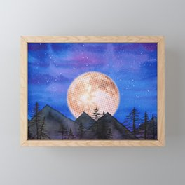 Moon over the mountains Framed Mini Art Print