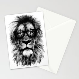 Hipster Lion White Stationery Cards