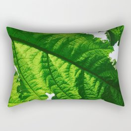 Torn Large Leaf Green Leaf Rectangular Pillow