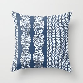 Cable Row Navy 1 Throw Pillow