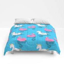 Pool Party flamingo, unicorn Comforters