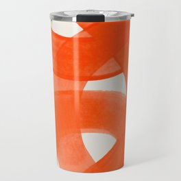 Mid Century Modern Abstract Painting Orange Watercolor Brush Strokes Travel Mug