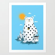 polka bear Art Print
