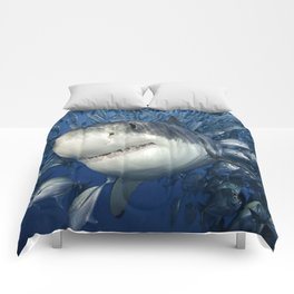 Smiling Great White Shark With Friends Comforters