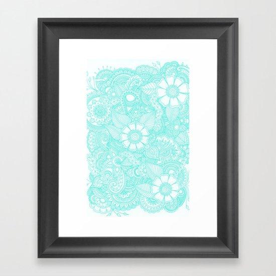 Henna Design - Aqua Framed Art Print
