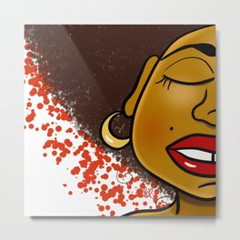 She Loves Red Metal Print