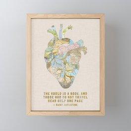 A Traveler's Heart + Quote Framed Mini Art Print