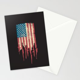 Distressed United States of America USA Flag Grunge Guns Stationery Cards