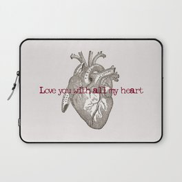 Love you with all my heart vintage illustration Laptop Sleeve