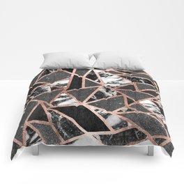 Modern Rose Gold Glitter Marble Geometric Triangle Comforters