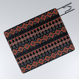 Mudcloth Style 2 in Black and Red Picnic Blanket
