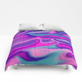 Liquid Bold Vibrant Colorful Abstract Paint in Blue, Pink and Purple Comforters