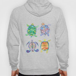 Four Sea Turtle Friends -multicolor theme Hoody