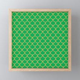 Mermaid Scales Pattern in Green Framed Mini Art Print