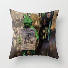Froggy Reads the Wall Street Journal Throw Pillow