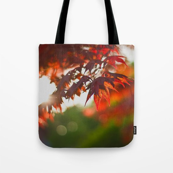 Indian Summer III Season Autum red Leaves Fall #Society6 Tote Bag