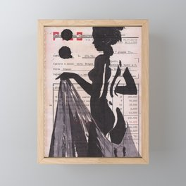 Emma - ink drawing over vintage commercial invoice Framed Mini Art Print
