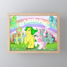 g1 my little pony Mimic, Fizzy, Magic Star, baby Sundance and Flutters Framed Mini Art Print